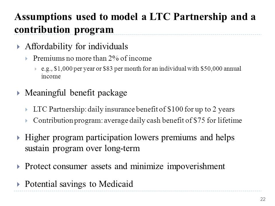 Assumptions used to model a LTC Partnership and a contribution program  Affordability for individuals  Premiums no more than 2% of income  e.g., $1,000 per year or $83 per month for an individual with $50,000 annual income  Meaningful benefit package  LTC Partnership: daily insurance benefit of $100 for up to 2 years  Contribution program: average daily cash benefit of $75 for lifetime  Higher program participation lowers premiums and helps sustain program over long-term  Protect consumer assets and minimize impoverishment  Potential savings to Medicaid 22