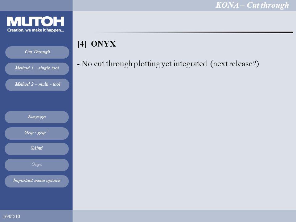 KONA – Cut through 16/02/10 Cut Through Method 1 – single tool Method 2 – multi - tool Easysign SAintl Onyx Grip / grip + Important menu options [4] ONYX - No cut through plotting yet integrated (next release )