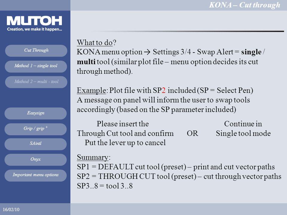 KONA – Cut through 16/02/10 Cut Through Method 1 – single tool Method 2 – multi - tool Easysign SAintl Onyx Grip / grip + Important menu options What to do.
