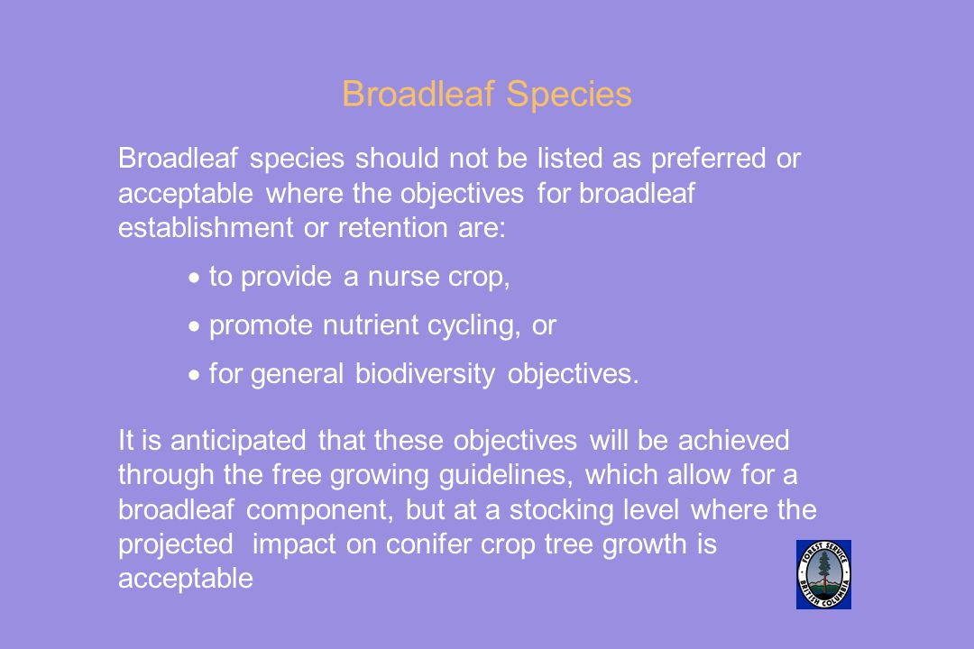 Broadleaf Species Broadleaf species should not be listed as preferred or acceptable where the objectives for broadleaf establishment or retention are: