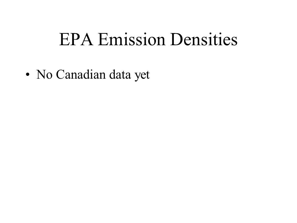 EPA Emission Densities No Canadian data yet