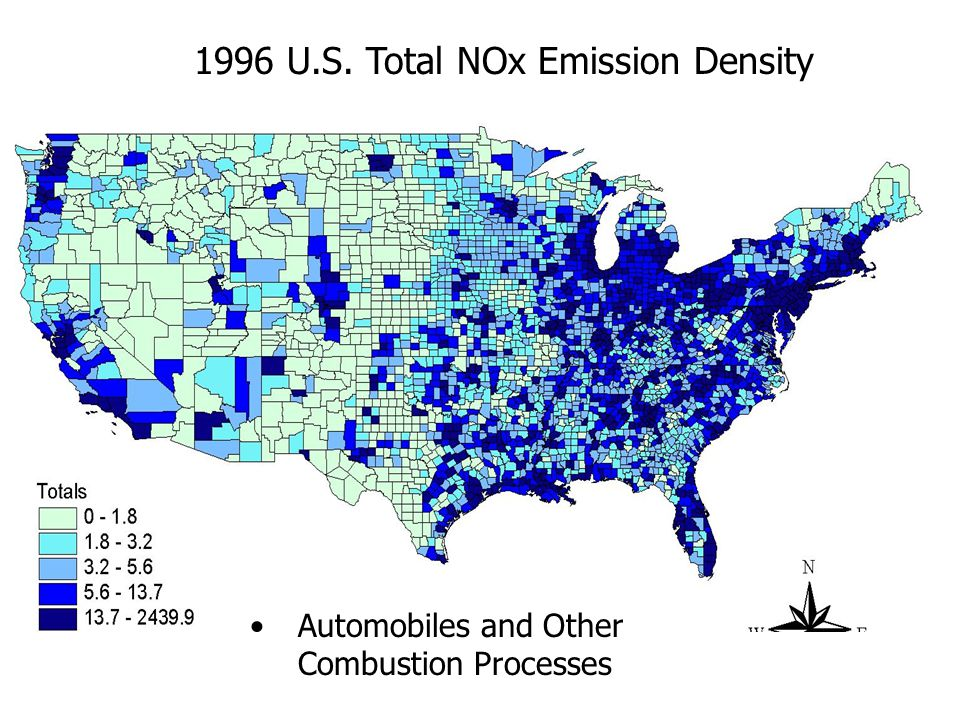 1996 U.S. Total NOx Emission Density Automobiles and Other Combustion Processes