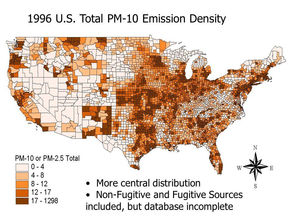 1996 U.S. Total PM-10 Emission Density More central distribution Non-Fugitive and Fugitive Sources included, but database incomplete