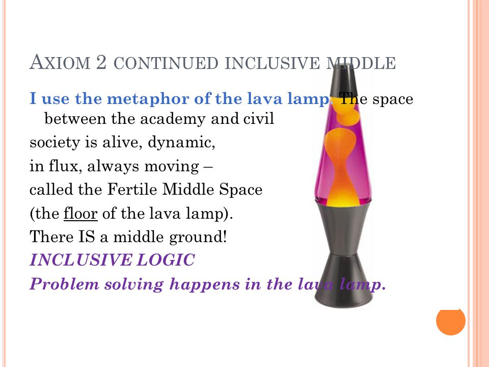 A XIOM 2 CONTINUED INCLUSIVE MIDDLE I use the metaphor of the lava lamp.