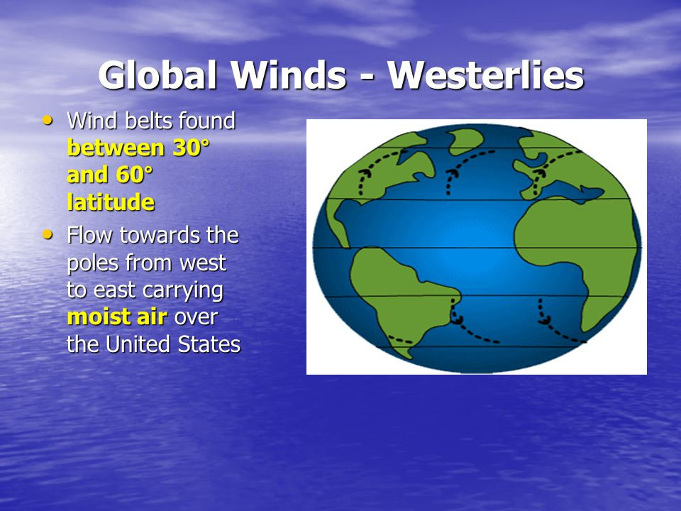 Global Winds - Westerlies Wind belts found between 30° and 60° latitude Wind belts found between 30° and 60° latitude Flow towards the poles from west to east carrying moist air over the United States Flow towards the poles from west to east carrying moist air over the United States