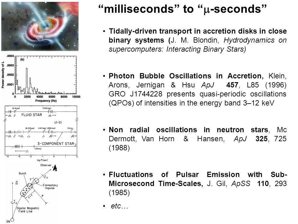 """""""milliseconds"""" to """"  -seconds"""" Tidally-driven transport in accretion disks in close binary systems (J. M. Blondin, Hydrodynamics on supercomputers: I"""
