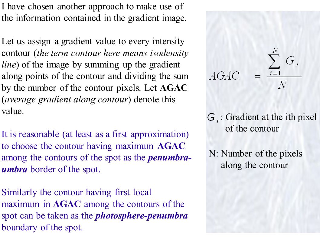 The left figure below shows the variation of AGAC along the contours of the spot S shown in the right figure.