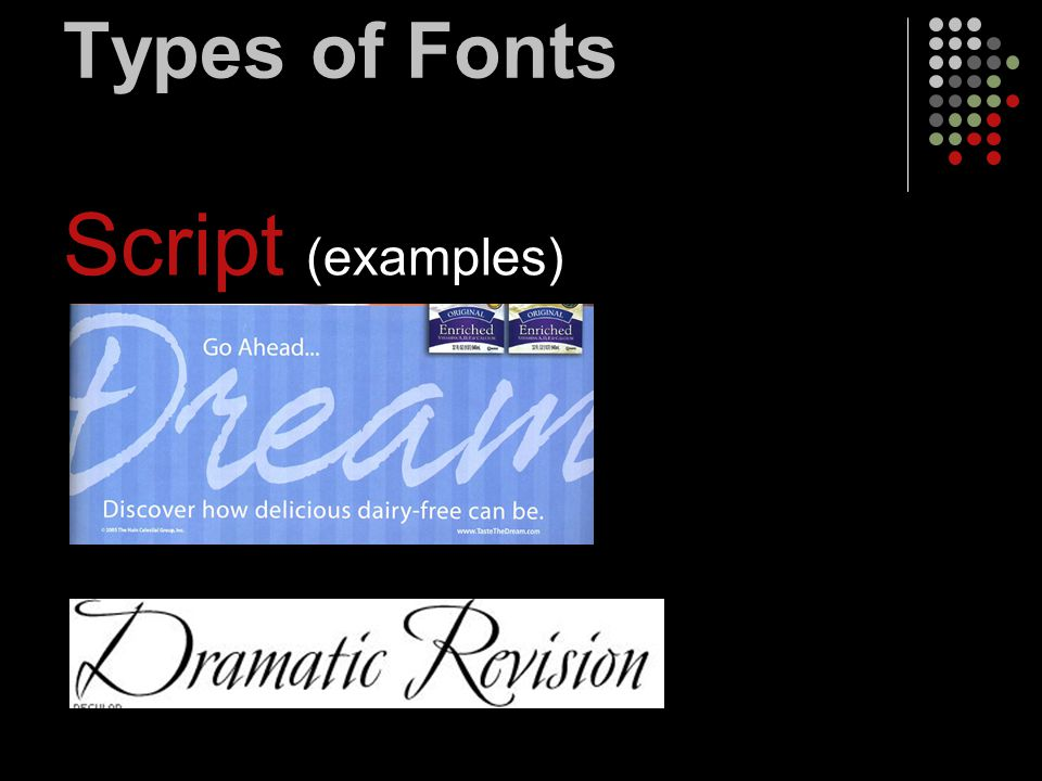 Types of Fonts Script (examples)