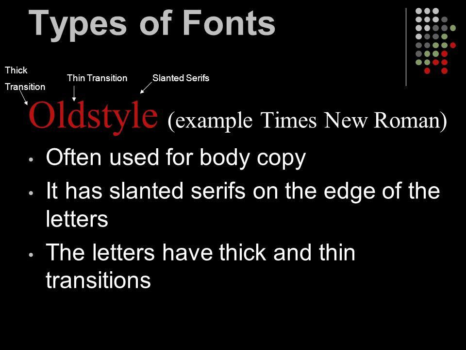 Types of Fonts Script (examples)