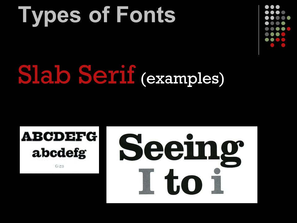Types of Fonts Modern (example Modern No.