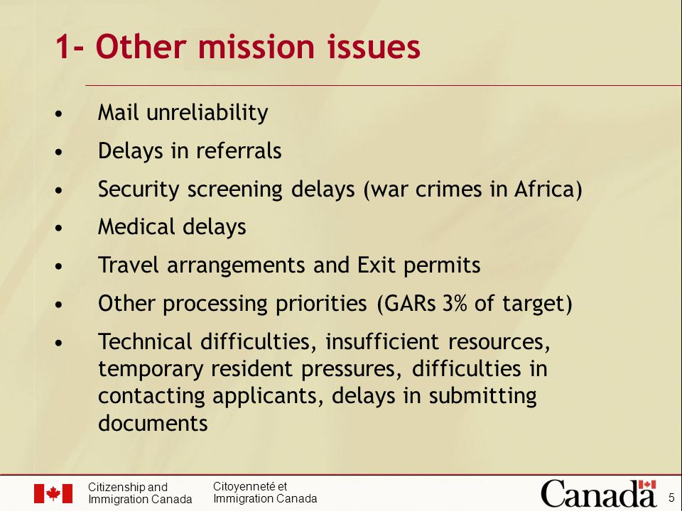 Citizenship and Immigration Canada Citoyenneté et Immigration Canada 5 1- Other mission issues Mail unreliability Delays in referrals Security screening delays (war crimes in Africa) Medical delays Travel arrangements and Exit permits Other processing priorities (GARs 3% of target) Technical difficulties, insufficient resources, temporary resident pressures, difficulties in contacting applicants, delays in submitting documents