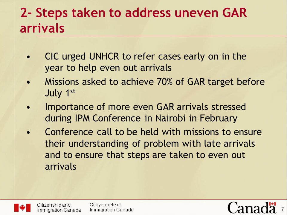 Citizenship and Immigration Canada Citoyenneté et Immigration Canada 8 CIC negotiated quicker turn-around times with CBSA for security screening However, cannot deal with issues beyond our control or delay arrivals artificially to even out arrivals There will always be limits as wars or other calamities happen 2- Steps taken to address uneven GAR arrivals