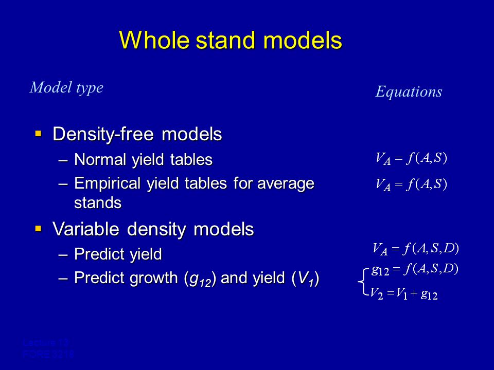 Lecture 13 FORE 3218 Whole stand models  Density-free models –Normal yield tables –Empirical yield tables for average stands  Variable density models –Predict yield –Predict growth (g 12 ) and yield (V 1 ) Equations Model type