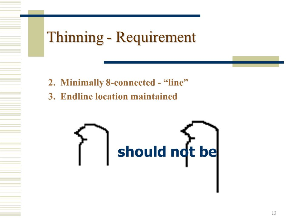 13 Thinning - Requirement 2. Minimally 8-connected - line 3.