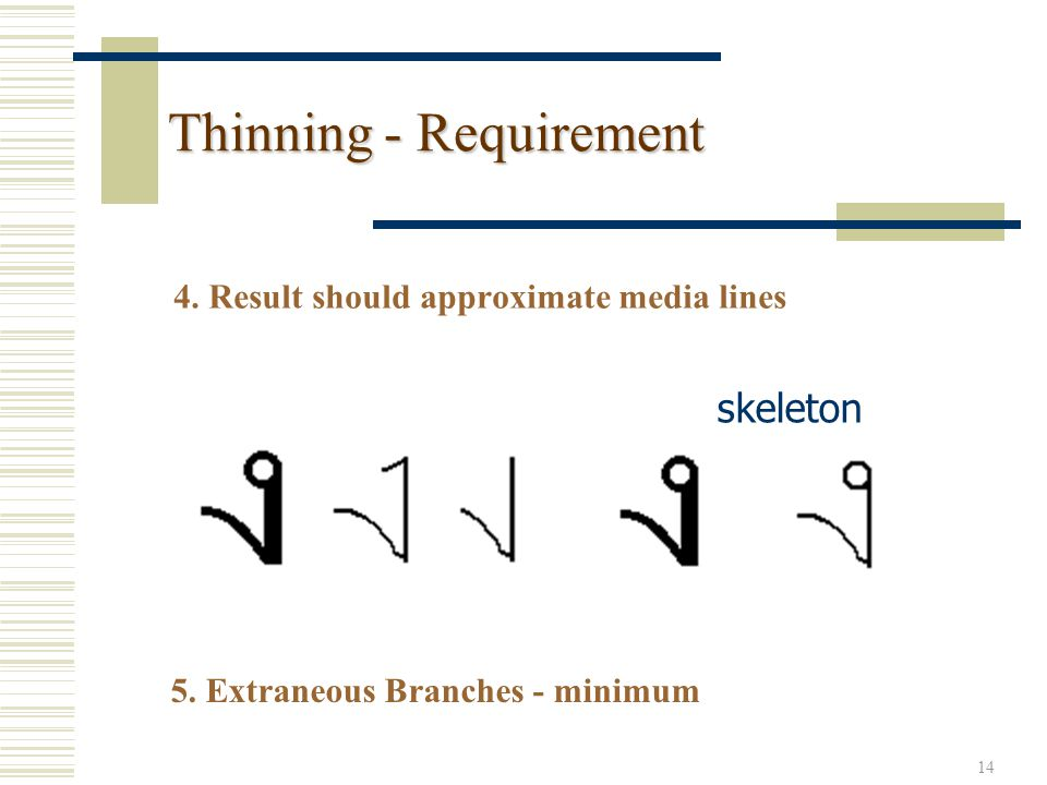 14 Thinning - Requirement 4. Result should approximate media lines skeleton 5.