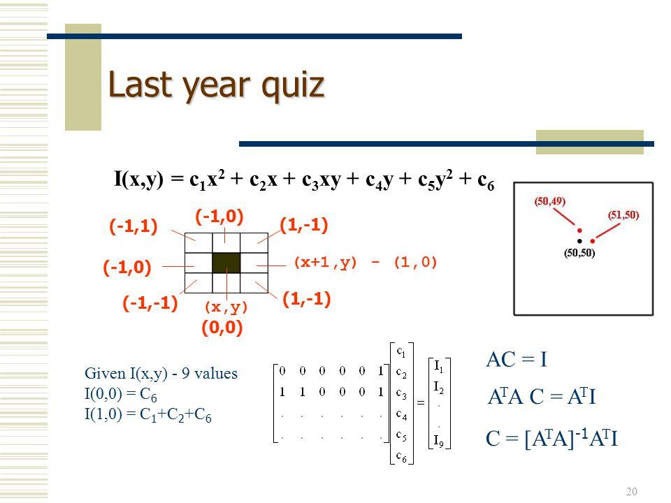 20 Last year quiz I(x,y) = c 1 x 2 + c 2 x + c 3 xy + c 4 y + c 5 y 2 + c 6 AC = I C = [A T A] -1 A T I A T A C = A T I (x,y) (0,0) (-1,-1) (-1,0) (-1,1) (-1,0) (1,-1) (x+1,y) - (1,0) (1,-1) Given I(x,y) - 9 values I(0,0) = C 6 I(1,0) = C 1 +C 2 +C 6