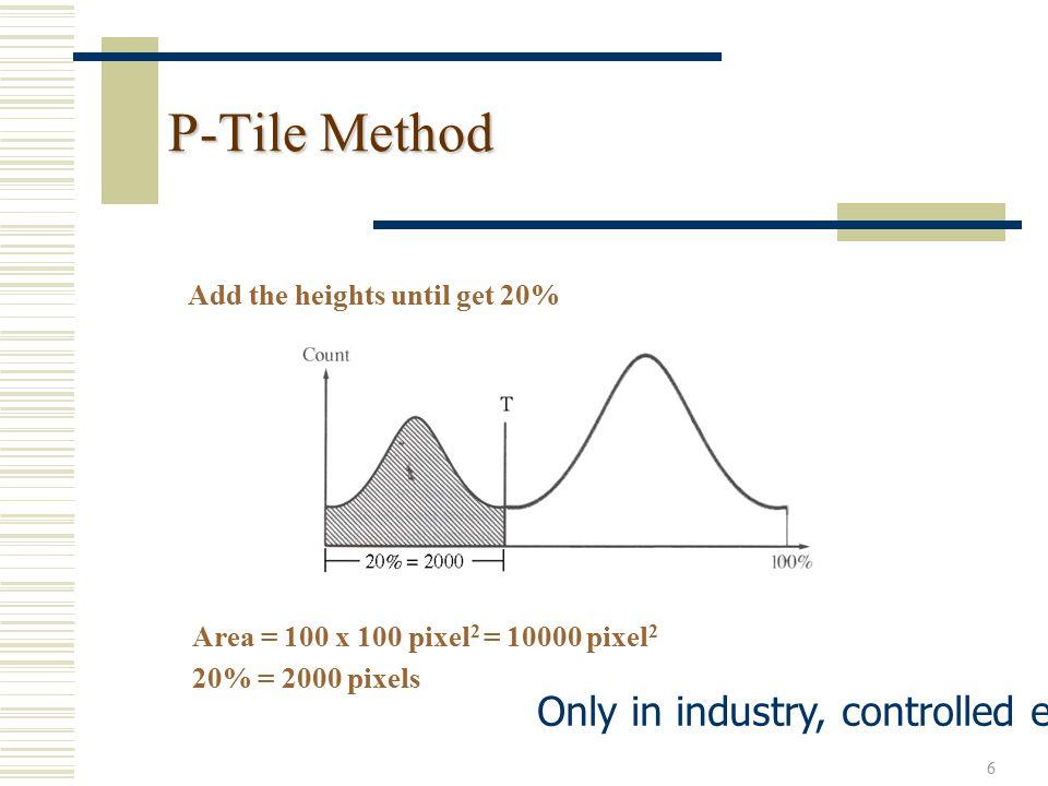 7 Iterative Threshold Selection Algorithm 3.2: 1.Select an initial estimate of threshold T T = Av.