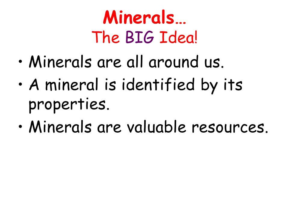 Minerals… The BIG Idea.Minerals are all around us.
