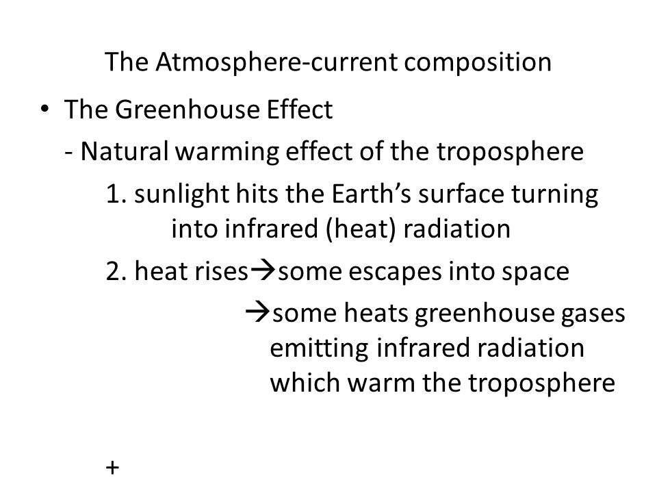 The Atmosphere-current composition The Greenhouse Effect - Natural warming effect of the troposphere 1. sunlight hits the Earth's surface turning into