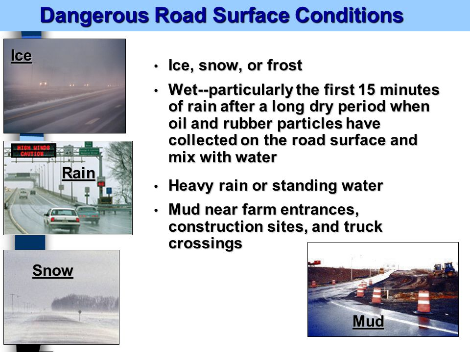 Dangerous Road Surface Conditions Dangerous Road Surface Conditions Ice, snow, or frost Ice, snow, or frost Wet--particularly the first 15 minutes of rain after a long dry period when oil and rubber particles have collected on the road surface and mix with water Wet--particularly the first 15 minutes of rain after a long dry period when oil and rubber particles have collected on the road surface and mix with water Heavy rain or standing water Heavy rain or standing water Mud near farm entrances, construction sites, and truck crossings Mud near farm entrances, construction sites, and truck crossings Ice Rain Snow Mud