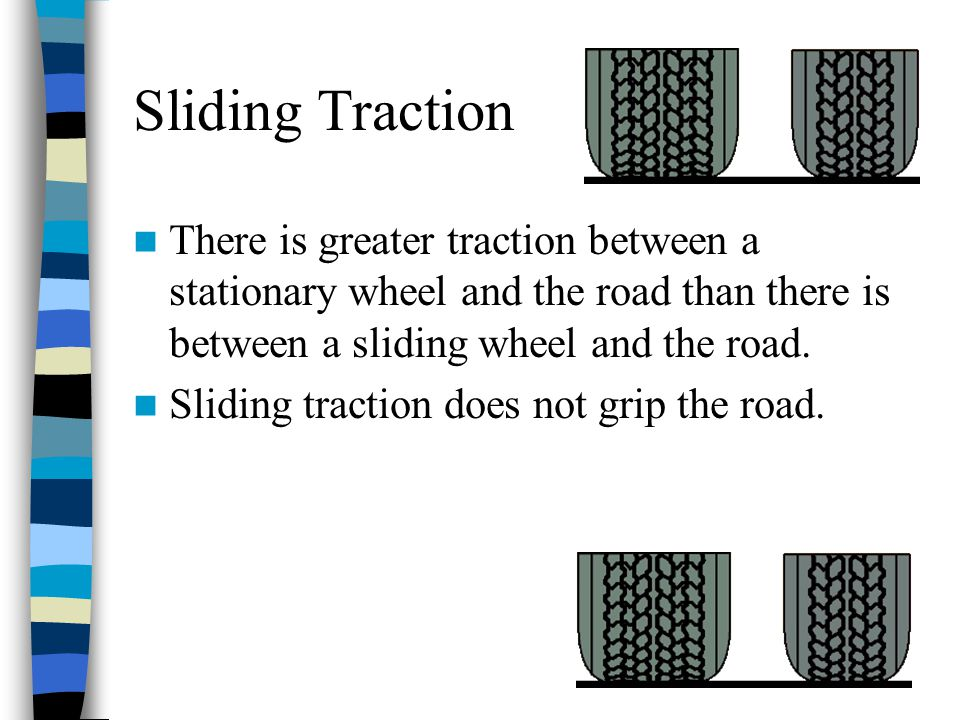 Sliding Traction There is greater traction between a stationary wheel and the road than there is between a sliding wheel and the road.