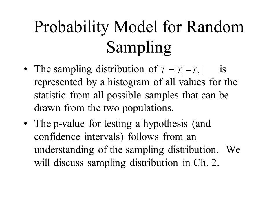 Probability Model for Random Sampling The sampling distribution of is represented by a histogram of all values for the statistic from all possible samples that can be drawn from the two populations.