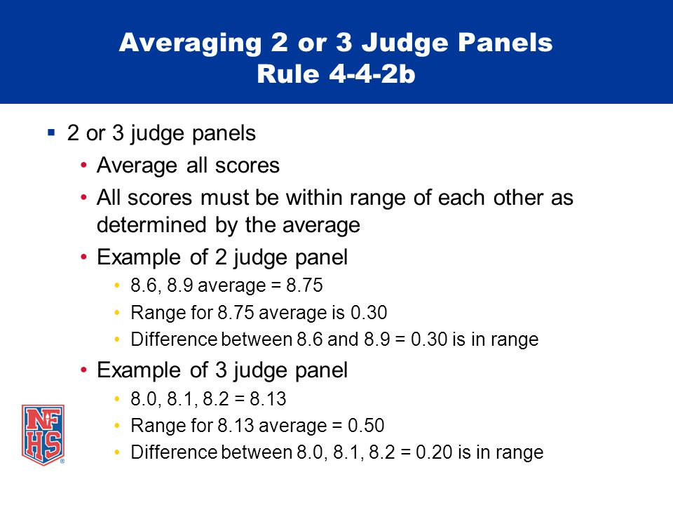 Averaging 2 or 3 Judge Panels Rule 4-4-2b  2 or 3 judge panels Average all scores All scores must be within range of each other as determined by the average Example of 2 judge panel 8.6, 8.9 average = 8.75 Range for 8.75 average is 0.30 Difference between 8.6 and 8.9 = 0.30 is in range Example of 3 judge panel 8.0, 8.1, 8.2 = 8.13 Range for 8.13 average = 0.50 Difference between 8.0, 8.1, 8.2 = 0.20 is in range