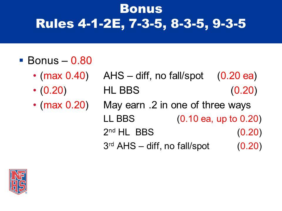 Bonus Rules 4-1-2E, 7-3-5, 8-3-5, 9-3-5  Bonus – 0.80 (max 0.40)AHS – diff, no fall/spot (0.20 ea) (0.20)HL BBS (0.20) (max 0.20)May earn.2 in one of three ways LL BBS (0.10 ea, up to 0.20) 2 nd HL BBS (0.20) 3 rd AHS – diff, no fall/spot (0.20)