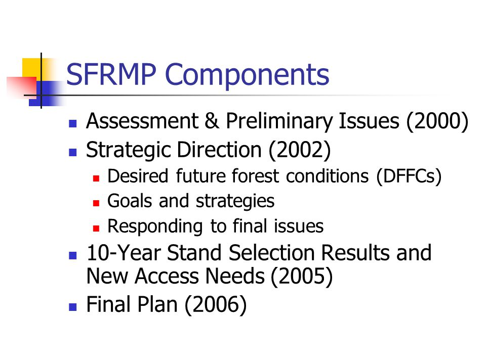 SFRMP Components Assessment & Preliminary Issues (2000) Strategic Direction (2002) Desired future forest conditions (DFFCs) Goals and strategies Responding to final issues 10-Year Stand Selection Results and New Access Needs (2005) Final Plan (2006)