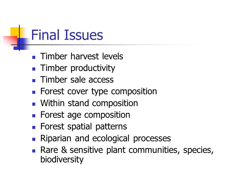 Final Issues Timber harvest levels Timber productivity Timber sale access Forest cover type composition Within stand composition Forest age composition Forest spatial patterns Riparian and ecological processes Rare & sensitive plant communities, species, biodiversity