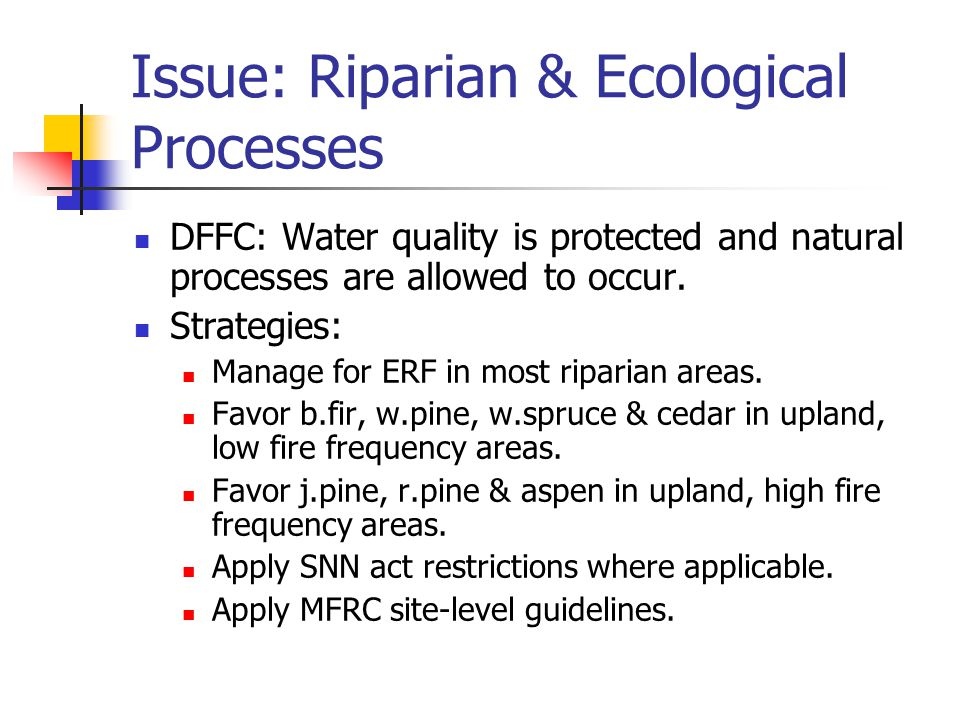 Issue: Riparian & Ecological Processes DFFC: Water quality is protected and natural processes are allowed to occur.