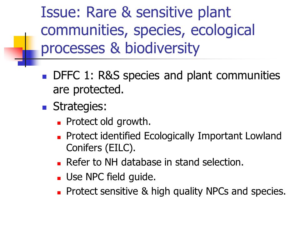 Issue: Rare & sensitive plant communities, species, ecological processes & biodiversity DFFC 1: R&S species and plant communities are protected.
