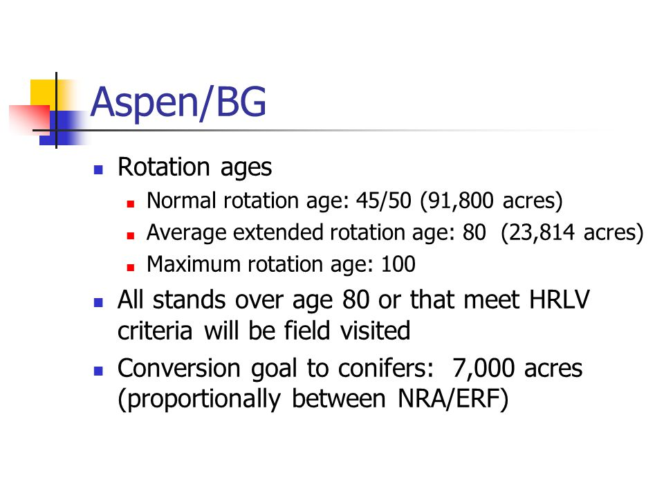Aspen/BG Rotation ages Normal rotation age: 45/50 (91,800 acres) Average extended rotation age: 80 (23,814 acres) Maximum rotation age: 100 All stands over age 80 or that meet HRLV criteria will be field visited Conversion goal to conifers: 7,000 acres (proportionally between NRA/ERF)