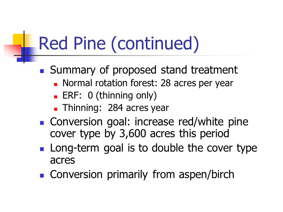 Red Pine (continued) Summary of proposed stand treatment Normal rotation forest: 28 acres per year ERF: 0 (thinning only) Thinning: 284 acres year Conversion goal: increase red/white pine cover type by 3,600 acres this period Long-term goal is to double the cover type acres Conversion primarily from aspen/birch