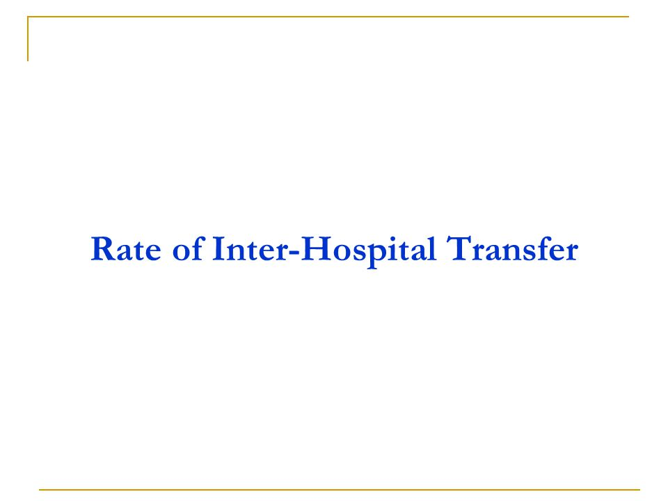 Rate of Inter-Hospital Transfer