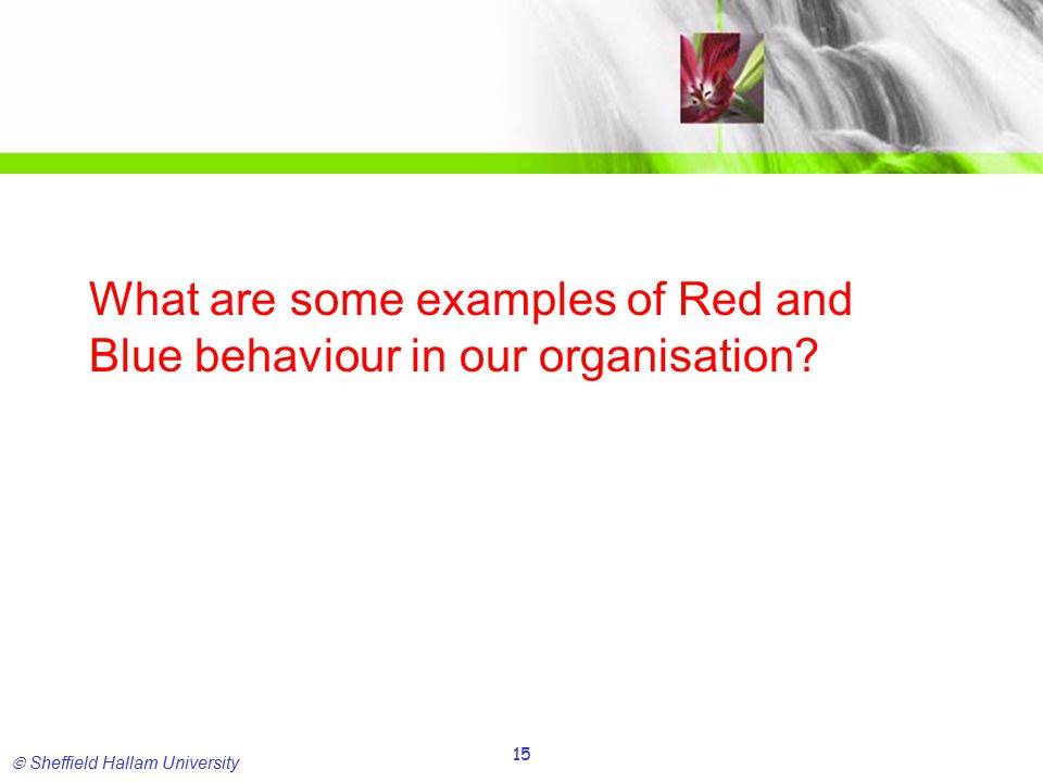  Sheffield Hallam University 15 What are some examples of Red and Blue behaviour in our organisation?
