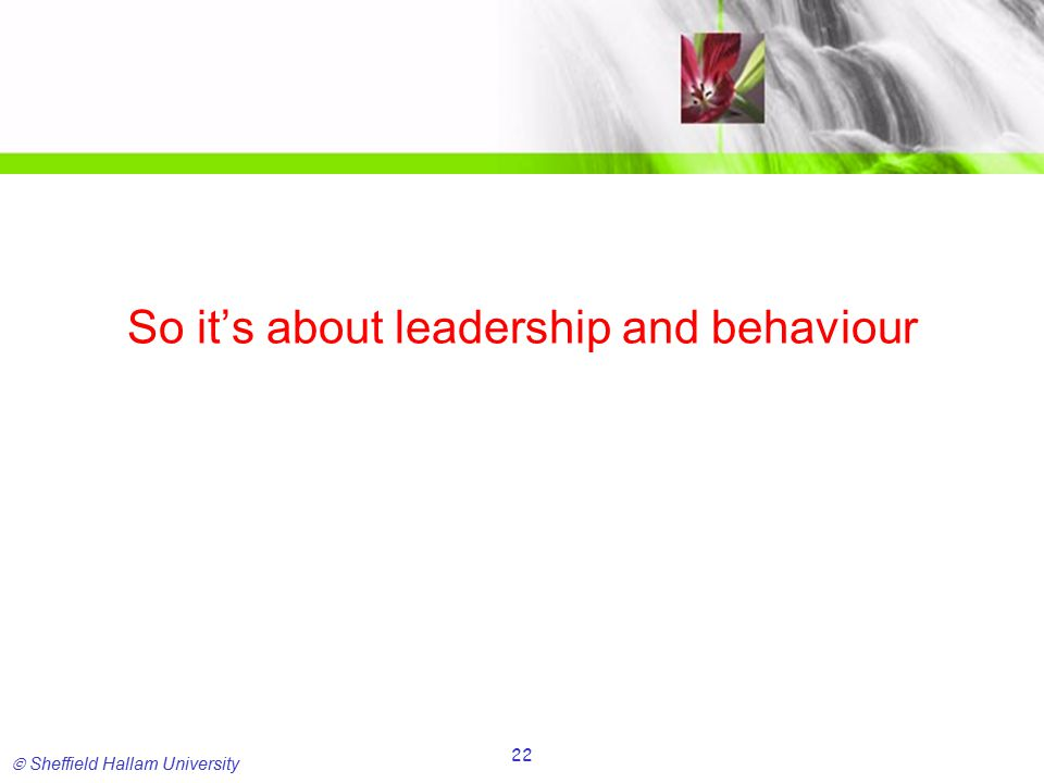  Sheffield Hallam University 22 So it's about leadership and behaviour