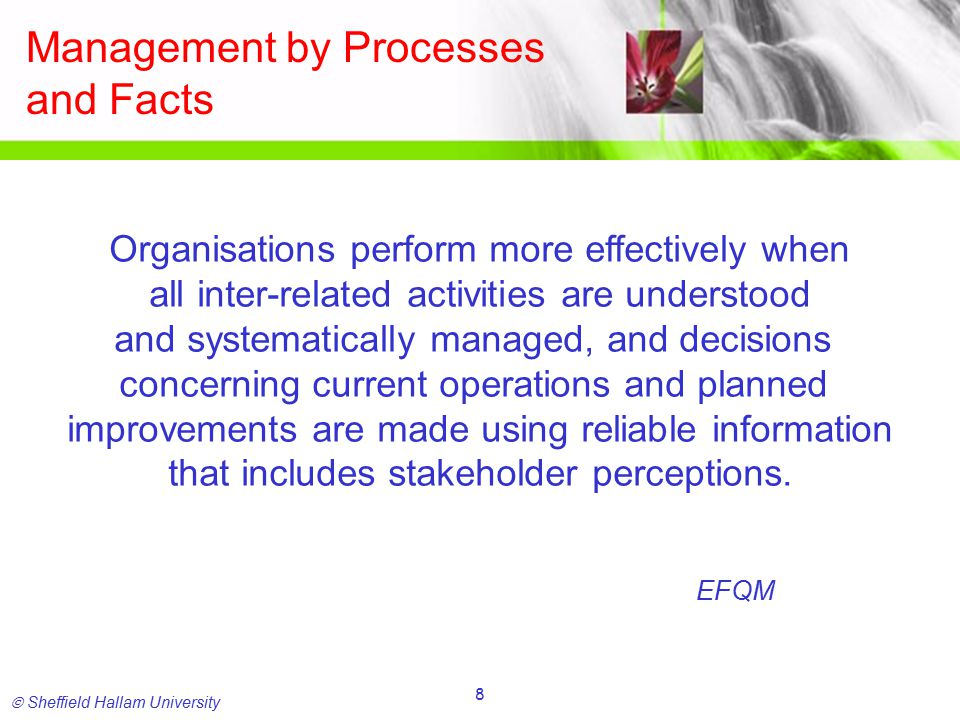  Sheffield Hallam University 9 Process Working From Hierarchy..................