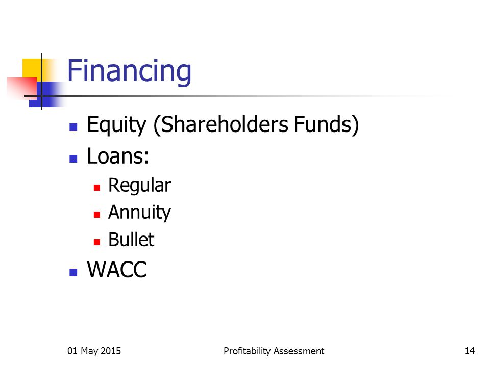 Financing Equity (Shareholders Funds) Loans: Regular Annuity Bullet WACC 01 May 2015Profitability Assessment14