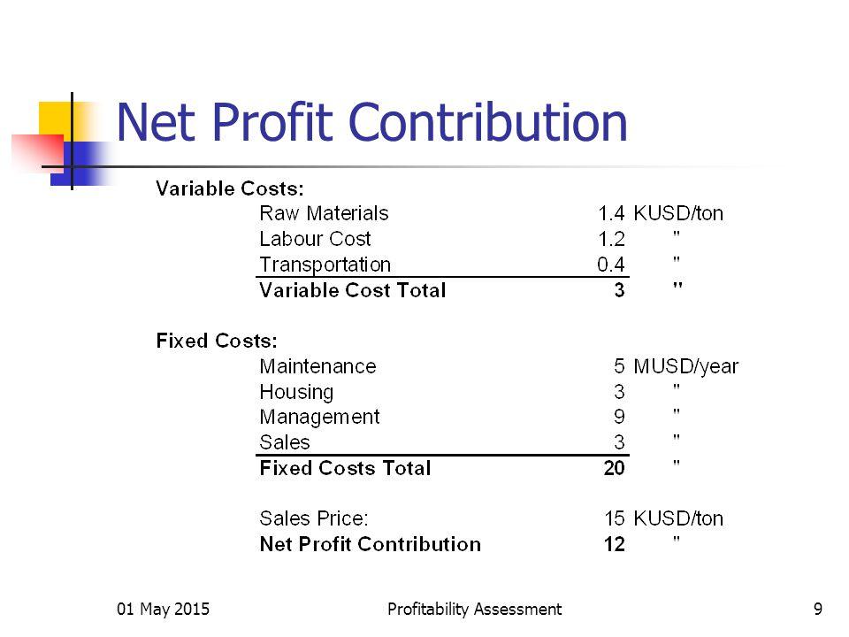 01 May 2015Profitability Assessment9 Net Profit Contribution