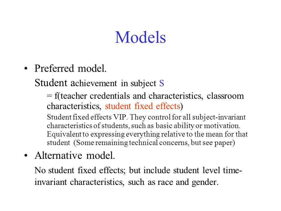 Models Preferred model.