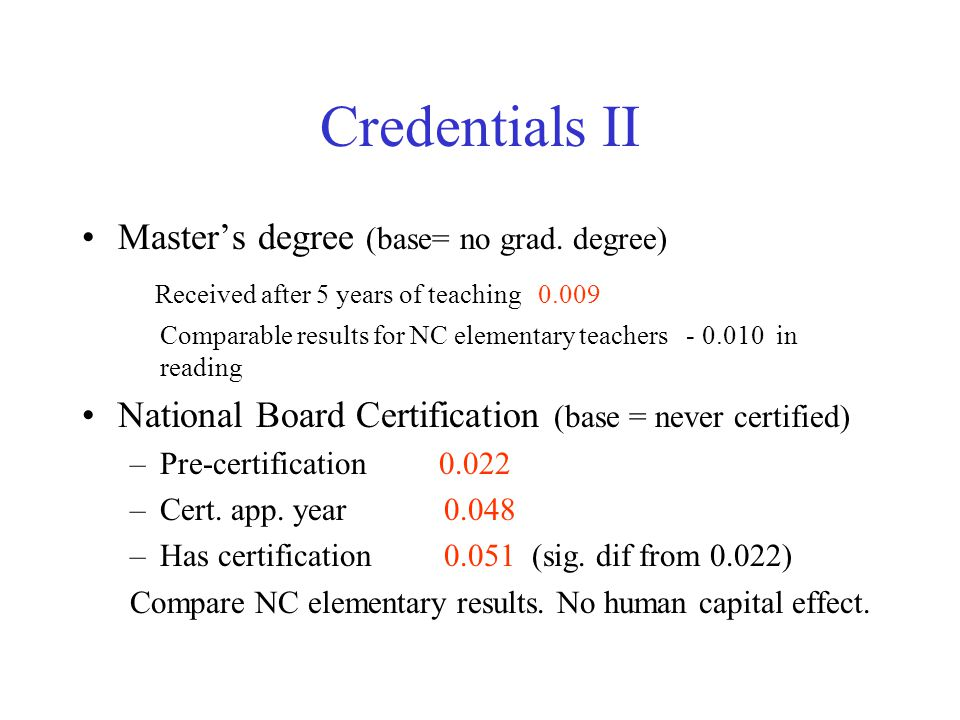 Credentials II Master's degree (base= no grad. degree) Received after 5 years of teaching 0.009 Comparable results for NC elementary teachers - 0.010