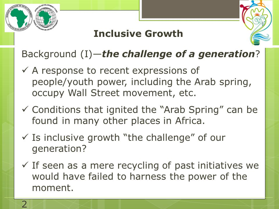 Inclusive Growth Background (I)—the challenge of a generation.