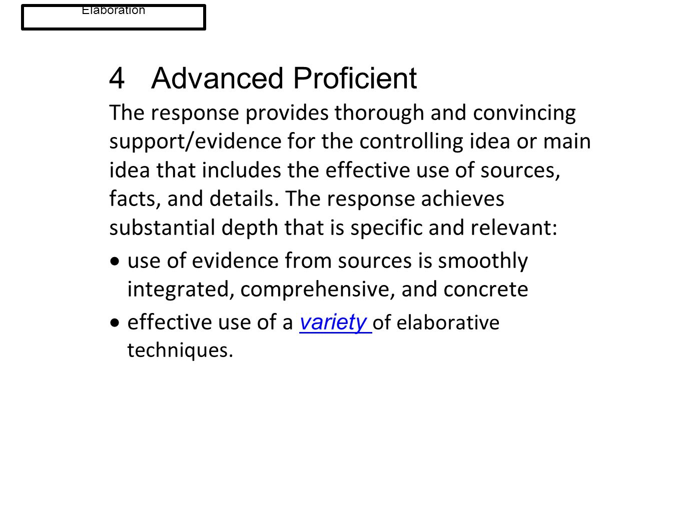 4 Advanced Proficient The response provides thorough and convincing support/evidence for the controlling idea or main idea that includes the effective