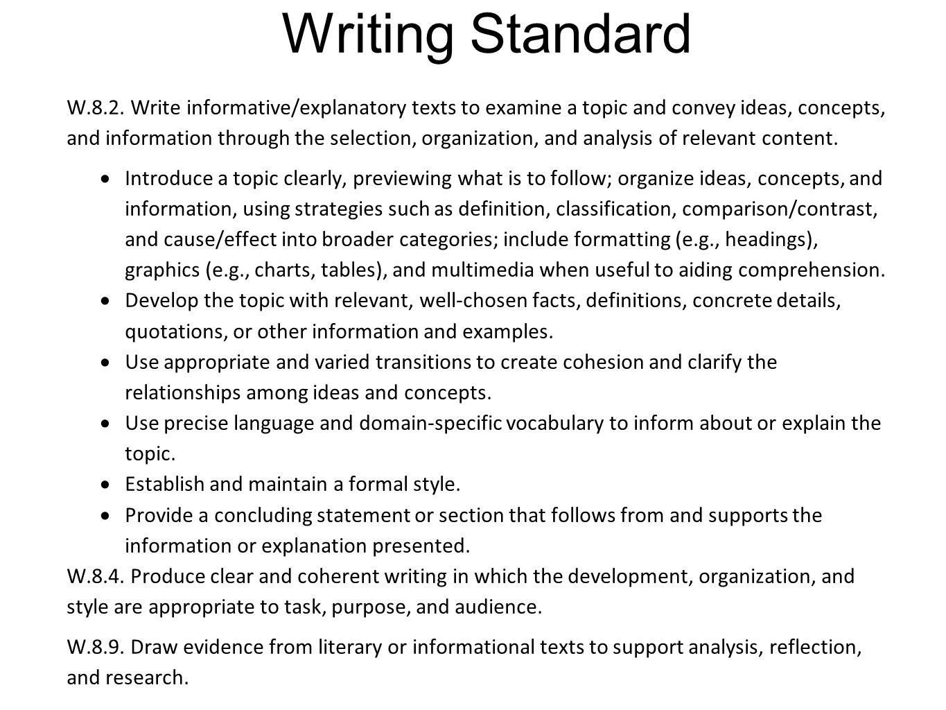 Writing Standard W.8.2. Write informative/explanatory texts to examine a topic and convey ideas, concepts, and information through the selection, orga