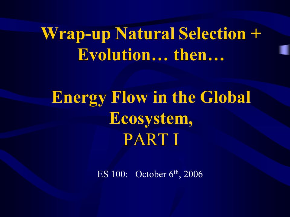 Wrap-up Natural Selection + Evolution… then… Energy Flow in the Global Ecosystem, PART I ES 100: October 6 th, 2006
