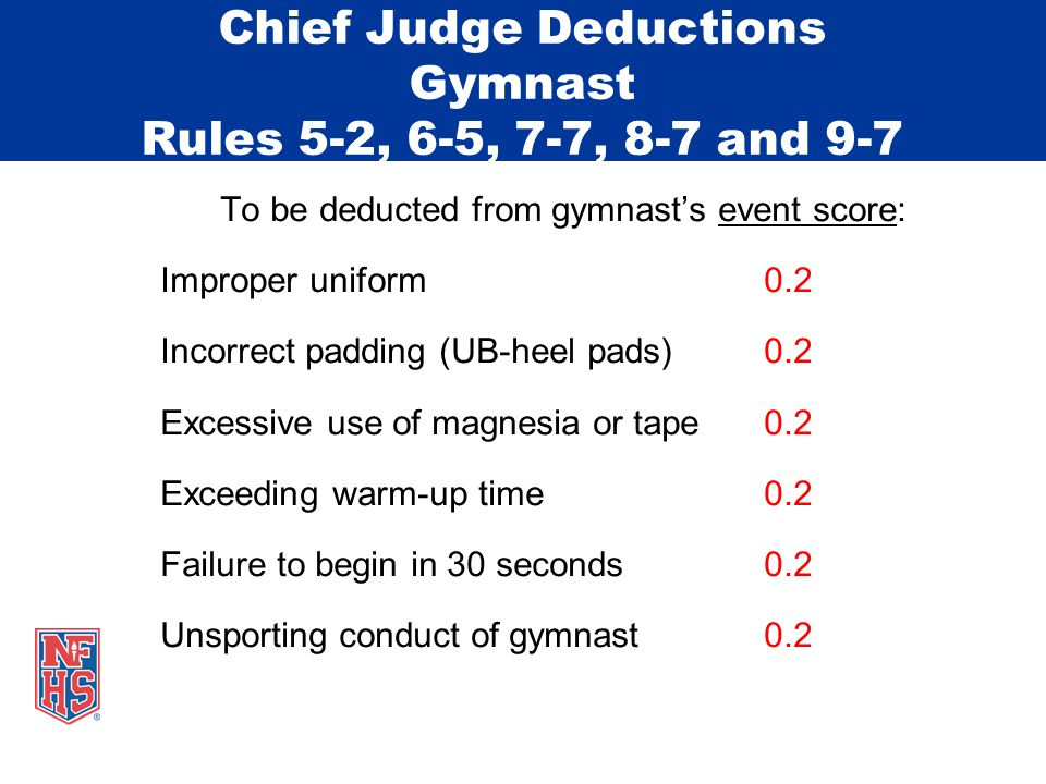 Chief Judge Deductions Gymnast Rules 5-2, 6-5, 7-7, 8-7 and 9-7 To be deducted from gymnast's event score: Improper uniform0.2 Incorrect padding (UB-heel pads)0.2 Excessive use of magnesia or tape0.2 Exceeding warm-up time0.2 Failure to begin in 30 seconds0.2 Unsporting conduct of gymnast0.2