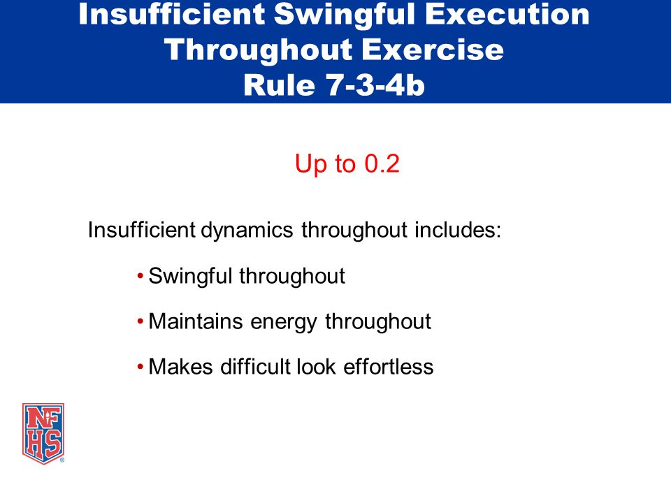 Insufficient Swingful Execution Throughout Exercise Rule 7-3-4b Up to 0.2 Insufficient dynamics throughout includes: Swingful throughout Maintains energy throughout Makes difficult look effortless