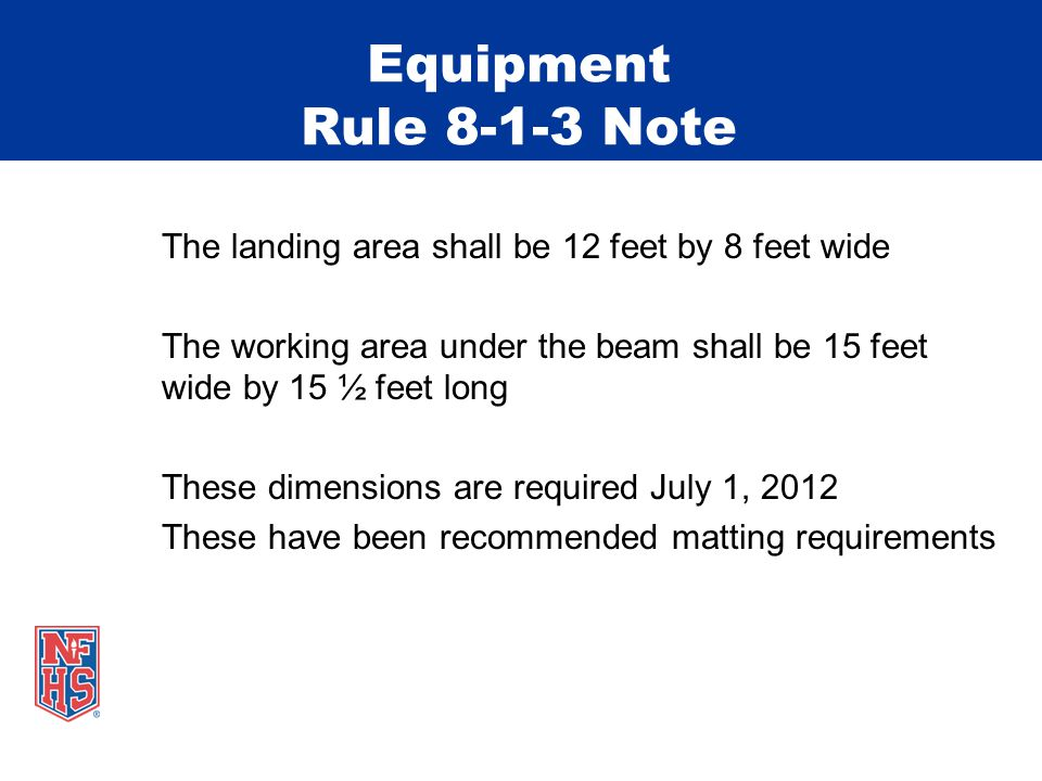 Equipment Rule 8-1-3 Note The landing area shall be 12 feet by 8 feet wide The working area under the beam shall be 15 feet wide by 15 ½ feet long These dimensions are required July 1, 2012 These have been recommended matting requirements