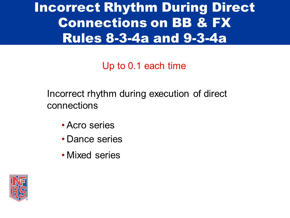 Incorrect Rhythm During Direct Connections on BB & FX Rules 8-3-4a and 9-3-4a Up to 0.1 each time Incorrect rhythm during execution of direct connections Acro series Dance series Mixed series